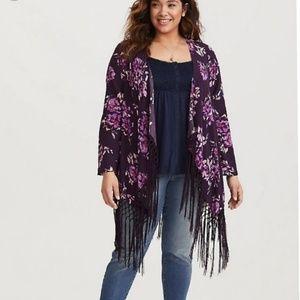 Torrid Purple Floral Fringe Kimono-Size 0